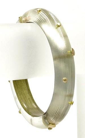 Alexis Bittar Clear Studded Hinged Bangle