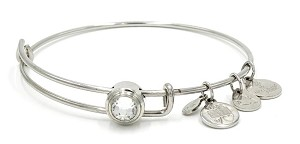 Alex And Ani Clear April Birthstone Bracelet Silver