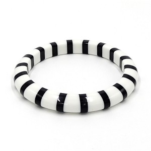 Black And White Striped Candy Bangle Bracelet