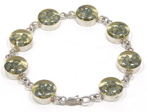 Vintage Sterling Real Forget Me Not Flowers Bracelet