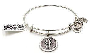 Alex And Ani Letter J Charm Bangle Silver NWT