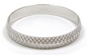 Vintage Monet Diamond Cut Silver Bangle Bracelet