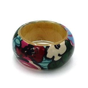 Resin Encased Bright Floral Fabric And Wood Bangle Bracelet