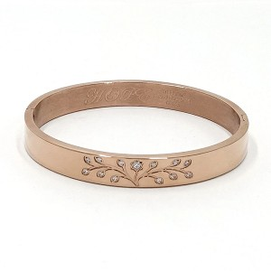 Rose Gold Plated Stainless Steel Hope Bangle With Rhinestones