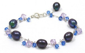 Artisan Sterling Pearl And Crystal Bracelet