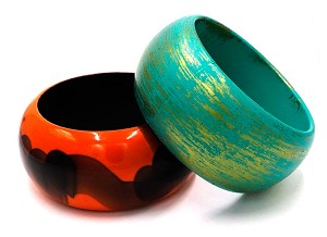 Two Vintage Painted Wood And Plastic Bangle Bracelets