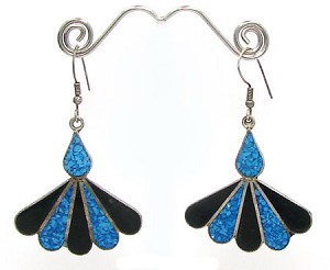 Vintage Alpaca Inlay Earrings From Mexico