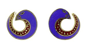 Vintage Laurel Burch Celine Earrings In Blue And Red