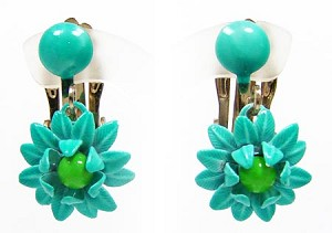 Vintage Turquoise Enamel Flower Earrings