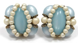 Vintage Blue Moonglow Pearl And Filigree Clip Earrings