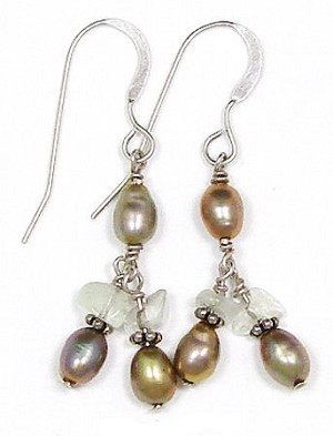 Vintage Sterling Pearl And Moonstone Earrings