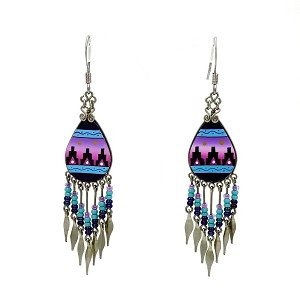 Native American Inspired Beaded And Painted Dangling Earrings NOC