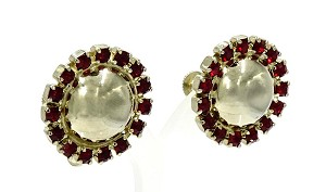 Vintage Coro Gold Domed Center Siam Red Rhinestone Earrings