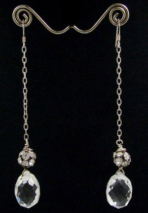 Vintage Sterling Chandelier Crystal Linear Earrings
