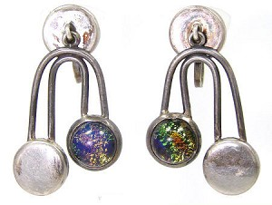 Vintage Art Glass Sterling Mexico Earrings
