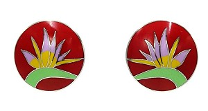 Vintage Laurel Burch Red Bird Of Paradise Earrings