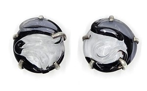 Mariquita Masterson Sterling Poured Glass Earrings White Gray Black