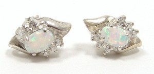 Vintage Sterling Opal And CZ Earrings