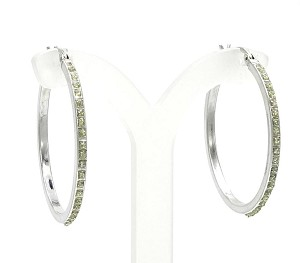 Sterling Hoop Earrings With Sparkling Dots