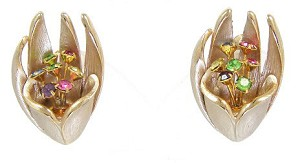 Vintage Silver Gold And Rhinestone Tulip Earrings