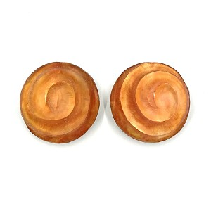 Early Alexis Bittar Carved Extra Large Orange Swirl Earrings