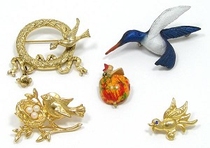 Vintage Lot Of Bird Themed Pins