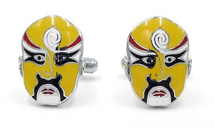 Vintage Yellow Chinese Opera Mask Cuff Links Peking