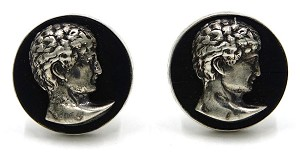 Vintage Fenwick And Sailors Sterling Ebony Caesar Cuff Links