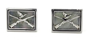 Vintage Swank Mother Of Pearl Duck Hunting Cuff Links