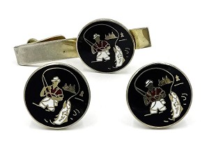 Vintage Swank Enamel Fly Fishing Cufflinks And Tie Clip Set