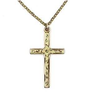 vintage 1 20 12k gold engraved cross necklace