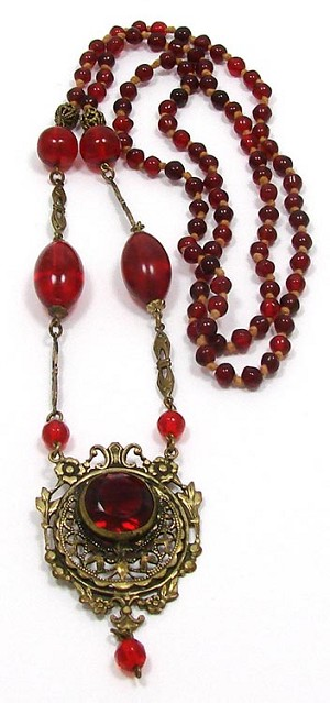 Antique Brass And Red Glass Beaded Necklace