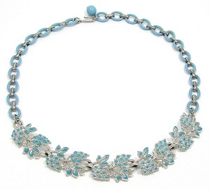 Vintage Coro Light Blue Enamel And Plastic Linked Necklace