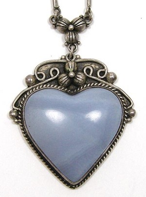 Vintage sterling silver blue lace agate heart necklace aloadofball Gallery
