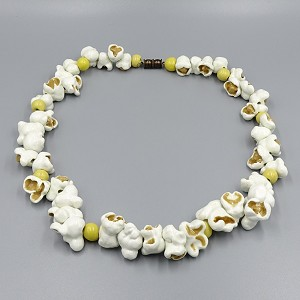1980's Ceramic Beaded Popcorn Necklace By C. O. Day
