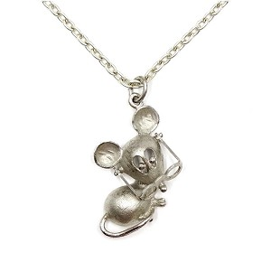 Vintage Mouse With Moveable Glasses Necklace