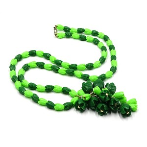 Vintage Lime Green And Green Plastic Pikake Necklace Hong Kong