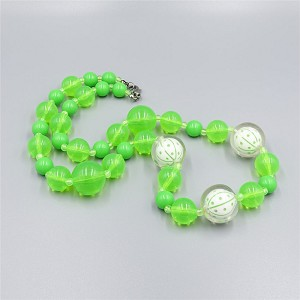 Lime Green Encased Planetary Bead Necklace UV Glow Acrylic