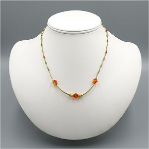 Fire Opal Crystal And Gold Fancy Link Necklace