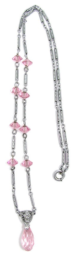 Art Deco Pink Crystal Rhodium Plated Necklace