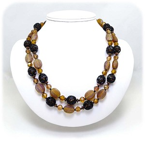 Amber And Black Beaded West Germany Necklace Vintage