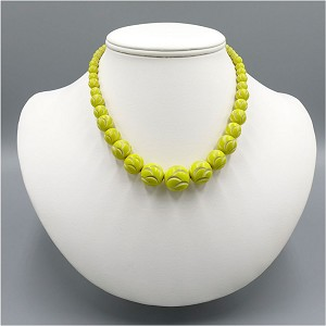 French Deco Carved Yellow Galalith Beaded Necklace