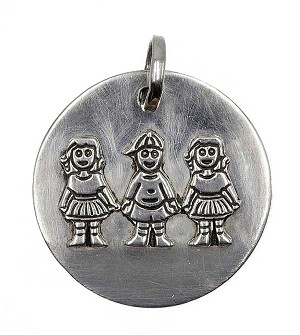 Sterling Two Girls One Boy Children Pendant