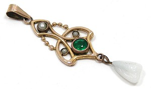 Antique Art Nouveau Pearl And Green Paste Lavalier Pendant