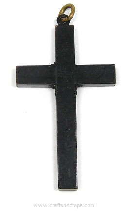 Antique Victorian Black Mourning Cross