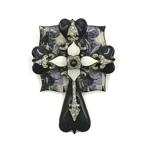 Lucinda Black And White Cross Pin Or Pendant Rare