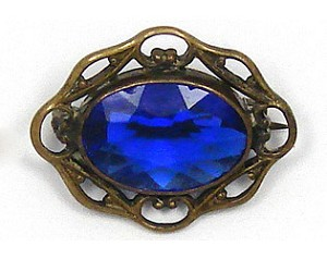 Antique Gilt Blue Glass Pin