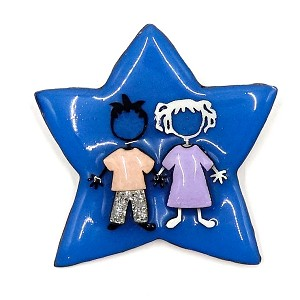 Lucinda Blue Star With Two Girls Pin