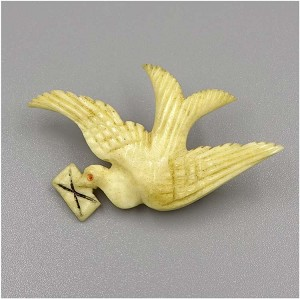 Antique Carved Bone Dove With Love Letter Pin