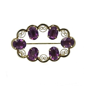Vintage Amethyst Glass Gold Filled Pin By Catamore